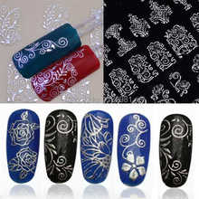 1Pack 108PCS High Quality Adhesive New Fashion 3D Silver Nail Art Stickers Decals Hot Stamping Nail Tips Decoration Tools SFfYV
