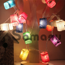 2015 Best New Year Gift for Home Lighting 20pcs/set Lanterns Shape 3M AC220V 7 Colors Christmas Ornaments Decoration Strip Light
