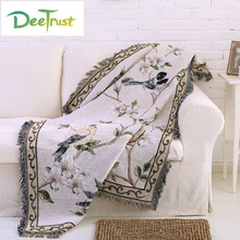 Cotton Europe Colour Bird Flower Thicken Blanket Fashion Throw on Sofa/Bed Blanket Table/Plane Decorative Blanket Piano Cover(China)