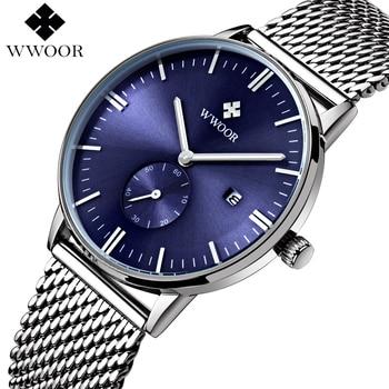 Homens relógios marca de topo wwoor data relógio de quartzo impermeável masculino relógio de Pulso Esportes Cinta De Malha De Aço de Prata Dos Homens de Luxo Casuais relógio