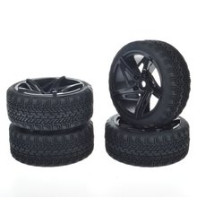4pcs 12mm Hub Wheel Rims & Rubber Tires for RC 1/10 on-road Touring Drift Rc Car