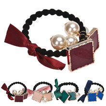 Sali 2015 1PC Plastic Hair Band Rope Bow Square Pearls Scrunchie Ponytail Holder Hair Band Rope &Wholesale