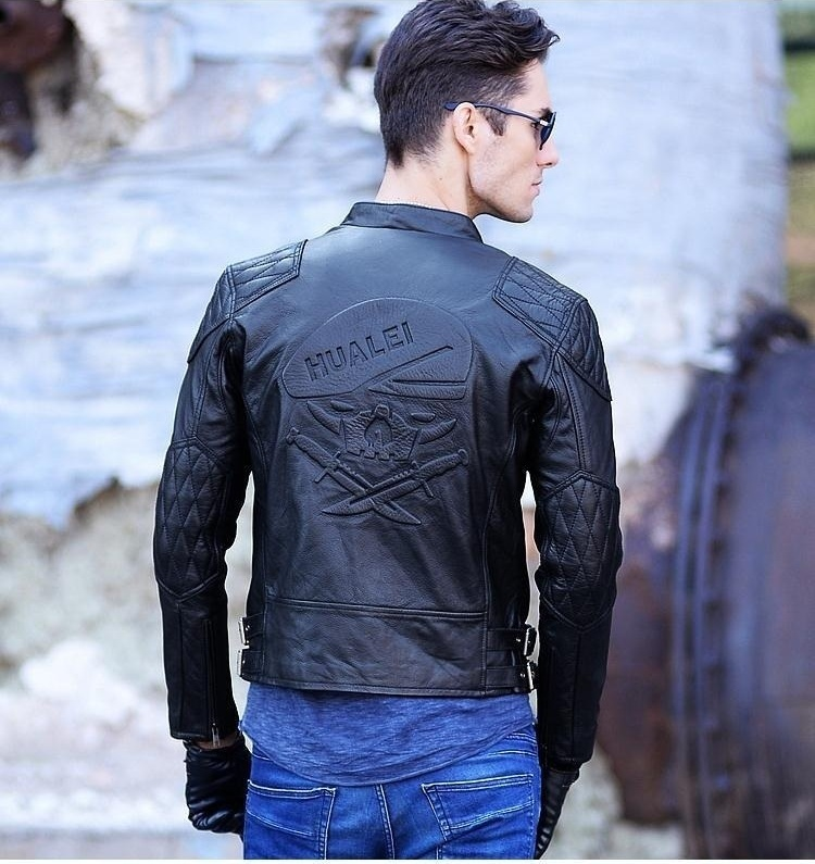 C&C Market.cowskin jackets,EMS 3D skull men's genuine leather coat,motorcycle slim.biker.Brand cool New fashion clothing