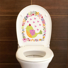 Bird with Love Heart Flower Circle Toilet Stickers Home Decoration Home Decals Posters Wall Decals Mural Art