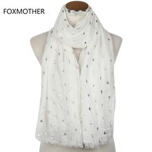 FOXMOTHER 2017 New Fashion Summer White Bronzing Silver Swallow Bird Scarves Stoles Wrap With Fringe For Women Ladies(China)