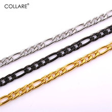 Collare Figaro Link Chain For Men Gold/Black Gun Color Stainless Steel Necklace Men Jewelry Wholesale 3 MM Wide Men Chain N255(China)