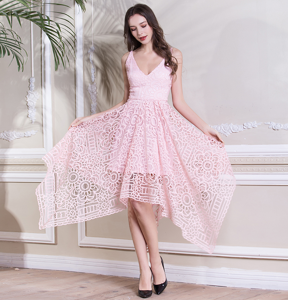 BeryLove Simple Tea Length Pink Lace Prom Dresses Short 2018 Women Special Party Dresses Cheap Prom Dress Formal Evening Dresses 3
