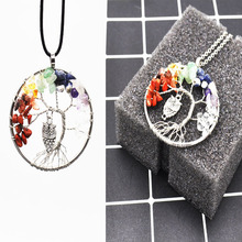 Fashion Necklace 7 Chakra Reiki Healing Tree of Life Colorful Crystal Stone Natural Stone Jewelry Necklace Owl Pendant,(China)
