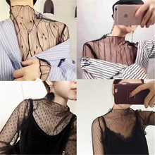Top 2017 hot sale explosion models take the spring and summer sexy gauze mesh shirt perspective grid all-match lace black shirt