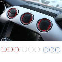 Car-Styling 3Pcs/Set Newest Dashboard Air Vent Outlet Ring Cover Interior Trims Aluminum Sticker For Ford Mustang 2015 Up New
