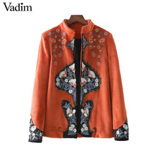 Vadim women retro velour floral embroidery coat vintageopen stitch design stand collar jacket casual brand outerwear tops CT1553(China)