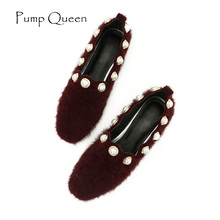Loafers Women Shoes 2017 Autumn Flock Solid Square Toe Casual Flats String Bead Comfortable Woman Shoes Slip-On Red Wine Gray