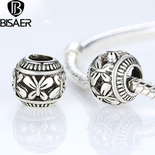 BISAER Vintage Silver Plated Butterfly Stone Letter Charm Original Accessories Cabochon Shell Diy Beads Jewelry Making GO5286