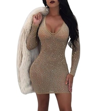 Buy sexy women short bodycon dress V neck night club mesh dress rhinestone outfits diamonds long sleeve party dresses for $12.79 in AliExpress store