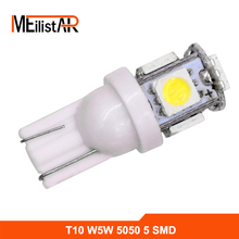 YAstarsz 1pcs T10 W5W LED Bulbs 5050 5 SMD 194 168 Xenon White Wedge Interior Side Dashboard License Light Lamp Car Styling