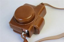 Factory High quality PU Leather Camera Bag Luxury Vintage Case Cover with strap For Olympus EPL8 EPL-8 Free Shipping World Brown(China)