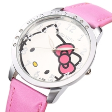 Hello Kitty Cartoon Cute New PU Leather Watch Girls Children Hour Quartz Watch Women Dress Kids Wrist Watches Reloj Mujer(China)