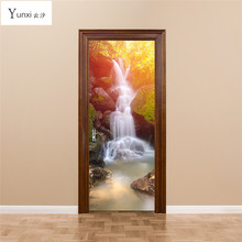 YunXi New 3D Door Posted Forest Waterfall Wooden Door Renovation Living Room Bedroom Children 's House Decoration Wall Stickers(China)