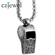 60cm Length Chain Punk/Rock 316L Stainless Steel Whistle Pendants Necklaces For Men(China)