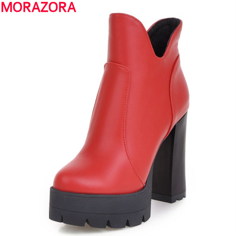 MORAZORA Plus size 2017 PU soft leather restoring ankle boots square high heels round toe platform black red women boots<br>
