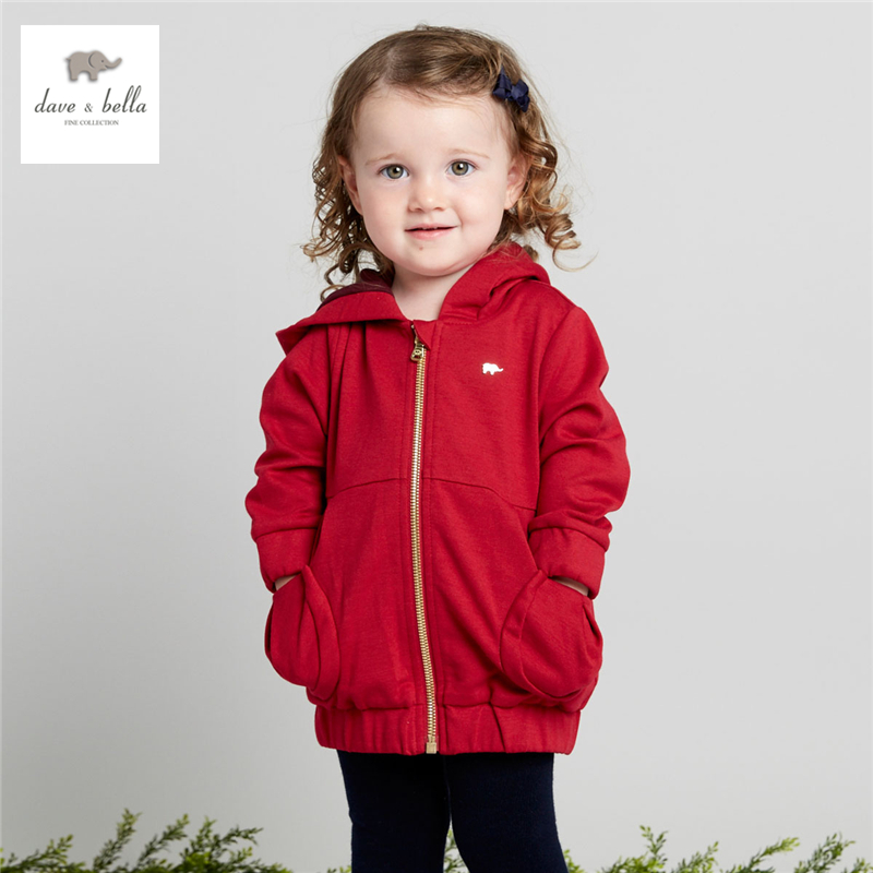 DB4141 dave bella baby girls red hooded coat zipper outerwear infant  toddle coat <br>