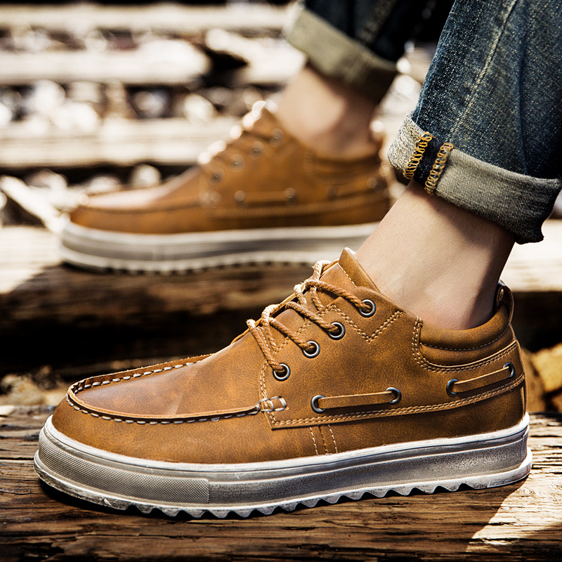 CIMIM Spring Autumn Brand Genuine Leather shoes British Style Handmade Male Lace-up Fashion Shoes Men Casual Flats Shoes For Men<br>