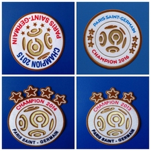 Paris 6 stars champions 2016 2015 2014 2013 patch football Print patches badges,Soccer Hot stamping Patch Badges(China)