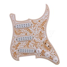 Yibuy  White Bauhinia Pattern SSS 11 Holes Pickguard Scratchplater Set 3 Single Coil Pickup 1Tone 2 Volumne Knobs Switch