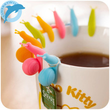 LINSBAYWU 5 PCS Cute Snail Shape Silicone Tea Bag Holder Cup Mug Candy Colors Gift Set GOOD Random Color(China)
