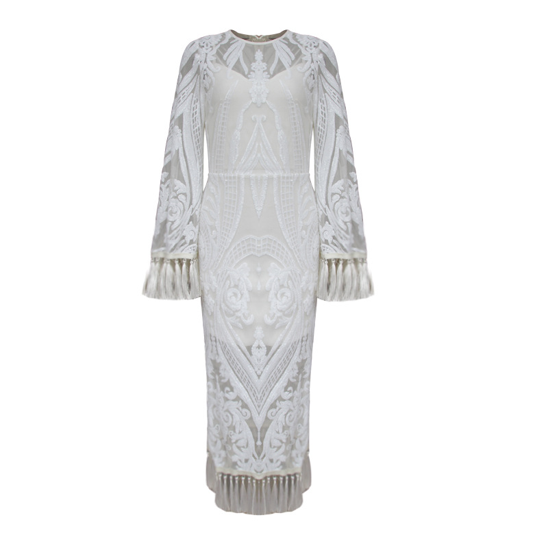 Goodlishowsi Summer 2019 White Tassel Lace Patchwork Maxi Formal Dress Embroidery O-Neck Flare Sleeve Split Noble Woman Dress