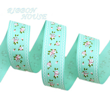 (5 yards/lot) Light Green grosgrain ribbon printed lovely floral series ribbons(China)