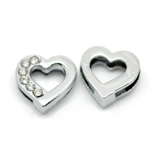 Buy Doreen Box hot- 20PCs Silver Tone Rhinestone Love Heart Charm Beads Spacer Slider Beads 13mmx12mm, B20076 for $2.37 in AliExpress store