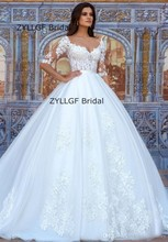 Buy ZYLLGF Bridal Elegant V Neck Ball Gown Wedding Dresses White/Ivory Half Sleeve Wedding Gowns Appliques RM72 for $219.00 in AliExpress store