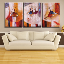 3pcs Unframed Hand Painted Abstract Oil Painting Set Ballet Dancer Picture Canvas Paint Wall Art for Living Room Decoration