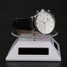 Cool Watch Parts Solar Light Parts Rotating Display Stand Watch 360 Solar Showcase Turntable Display with LED(China)