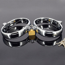 Buy Fetish bdsm slave metal handcuffs sex bondage harness wrist restraints male hand ankle cuffs adult games toys couples