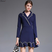 Monroo Women Mini Solid Dress Female V-Neck Full Sleeve Bud High Quality Pretty Worth to Buy Business Work Office Wear Dresses(China)