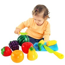 Hot Sales 1 Piece Plastic Set Baby Colorful Fruit Vegetable Toys Children Kids Pretend Role Play Toy Cutting Set