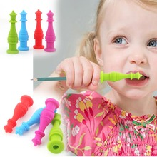 4 pieces Silicone Pencil Topper Teething Pen Cap for Kids Children Students Adults(China)