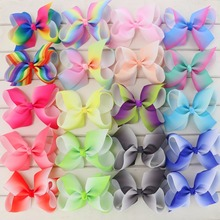 Babymatch 4.5'' Grosgrain Ribbon Hair Bows WITH Alligator Clip Rainbow Bow Clips For Girls Kids Hair Gift Cute Christmas Bows(China)