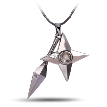 HSIC Hot Anime Naruto shuriken Ninjia Pendant&Necklace High Quality non-fading environmental Jewelry wonderful gift(China)