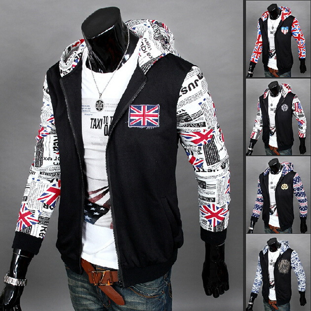 Men Fl Casual Hood Jackets 2017 New Arrival Autumn Designer Brand Indian Fashion Wild Section Slim