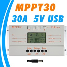 MPPT 30A solar charge controller 5V USB Charger 12V 24V Solar Panel Battery LCD Charger Controller auto work mppt 30 30Amps(China)