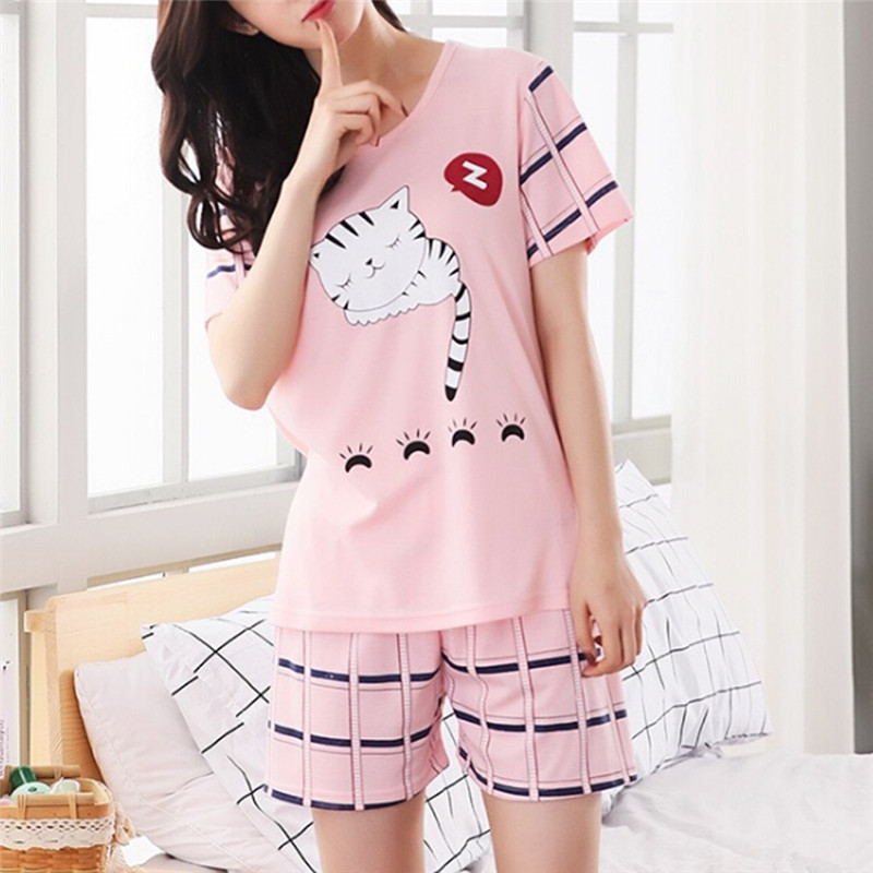 Pajamas For Women Summer Short Sleeve O Neck Printed Tops And Shorts Sets Sleep Wear For Women(China)