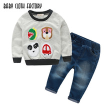 2016 New Fashion Kids Clothes Boys  Autumn Set Cartoon Pattern T-shirt + Pants Baby Boy Clothing Set Toddler Boy Clothes Set