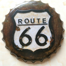 40 CM retro America ROUTE 66 old times beer bottle cap home decorative iron painting PLAQUE bar cafe wall hanging metal craft