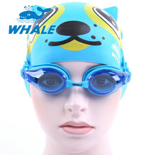 Whale Brand Child Waterproof Anti Fog Kids cool silicone Swim Glasses Eye-wear Swimming goggles and swim cap for boys and girls