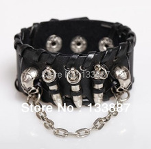 Punk Skull Leather Bracelet Metal Bullet Stud Bracelet Rock Style Club Hand Jewelry Wristbands