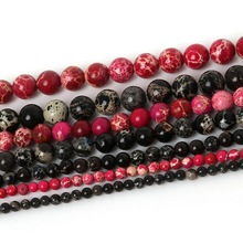 Natural Stone Black Fuchsia Hematite beads Round Loose beads Stone Ball Selectable 4/6/8/10MM For Jewelry bracelet Making(China)