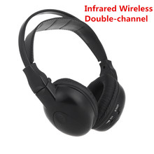 Infrared Stereo Double-channel Wireless Headphone Headset IR Car Headrest DVD Player(China)